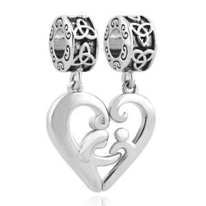 925 Sterling Silver Heart Mother Son Charm Beads European
